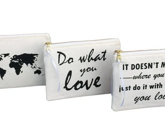 Buy ANY 3 PURSES - Choose any 3 pouches of your choice! Zippered Purse, Zip Pouch, purse organizer for makeup, makeup bag, cute quotes pouch