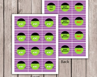 Frankenstein Cupcake Toppers- Halloween Cupcake Toppers- Party Extras- Instant Download
