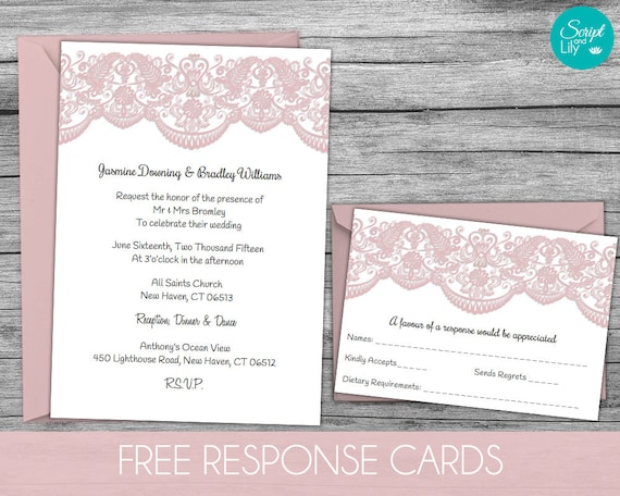 Lace Wedding Invitation Template FREE Response Card Template – Pages Invitation Templates Free