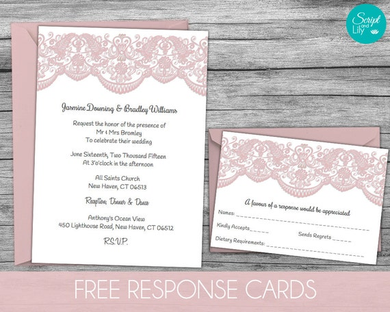 Lace Wedding Invitation Template: Lace Wedding Invitation Template FREE Response Card Template