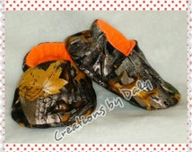 Hunting BABY SHOES, Orange Camo Shoes, Camo Baby Booties, True Timber Baby Shoes, Camo Baby Boy Shoes, Sizes: 0-3, 3-6, 6-9, 9-12, 12-18 m