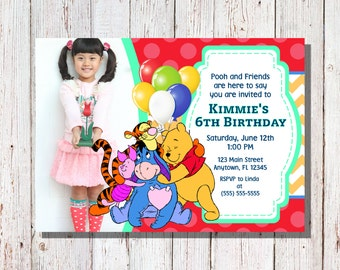 Winnie the Pooh Birthday Invitation / Pooh Party / Winnie the Pooh Custom Invitations / Pooh Photo Invitation