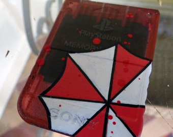 custom painted Playstation PS1 RESIDENT EVIL umbrella corp memory card