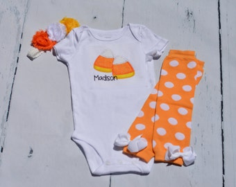 Candy Corn Halloween Onesie Outfit