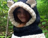 Knit wolf hood, child's hooded cowl, knit animal hat, winter hood, cowl, winter hat, child or adult cowl, animal cowl