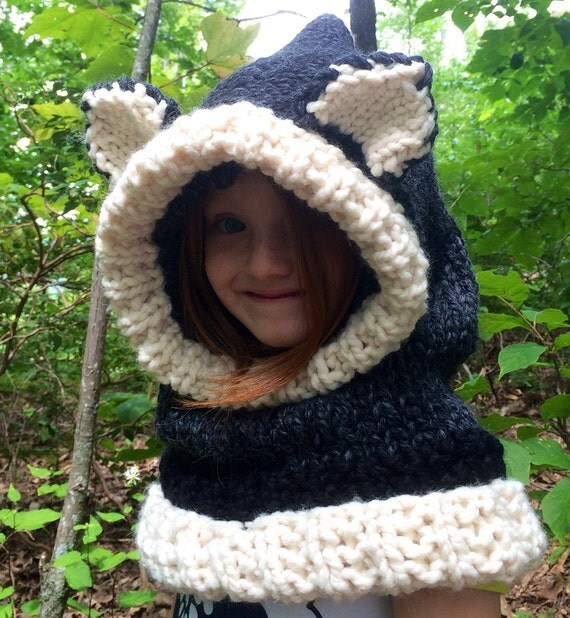 Animal Cowl Knitting Pattern : Knit wolf hood hooded cowl knit animal hat by KnittinKittenNC