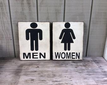 Bathroom Sign - Men & Women Bathroom Silhouette Sign