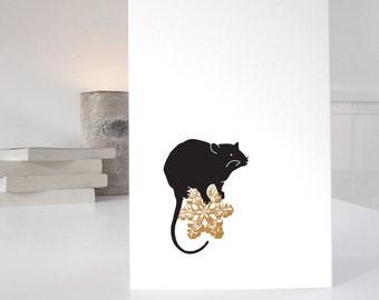 Rat Christmas Card in a modern minimalist style