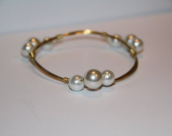 Pearl Cluster Gold Bangle