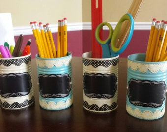 Upcycled can desk organizers with chalk board labels