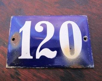 Vintage French Enamel House Number—120