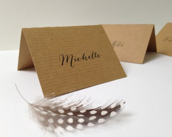 Rustic Wedding Place Cards, Rustic Name Cards, Place Settings, Kraft Place Cards