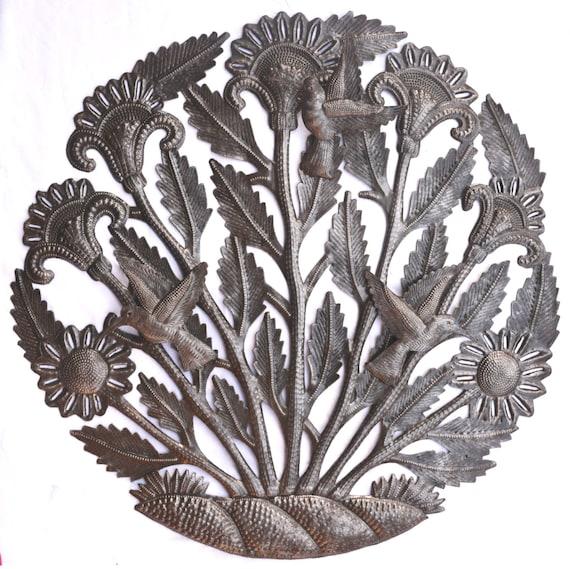 """Floral Garden and Hummingbirds, Haitian Metal Art, Hand Hammered Steel, Garden Art, Recycled Metal Barrel 22"""" x 22"""""""