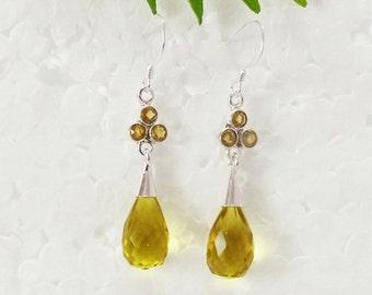 Gorgeous NATURAL CITRINE Gemstone Earrings, Birthstone Earrings, 925 Sterling Silver Earrings, Fashion Handmade Earrings, Dangle Earrings