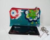 Coin Purse. Card holder. Phone Case. Earbud Holder. Earphone Case, in Ndieh's Designs Aqua-Marine fabric