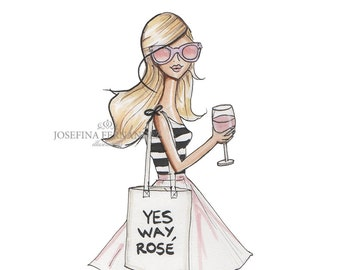"LIMITED EDITION Fashion illustration print, ""Yes Way Rosé"", Fashion sketch, Fashion art, Office decor, Kitchen decor, kitchen art."