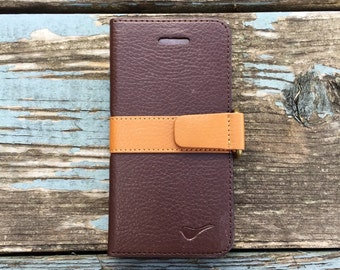 Monaco Wallet Eco-friendly Leather Case For iPhone 5C/Brown/Folio iPhone Case