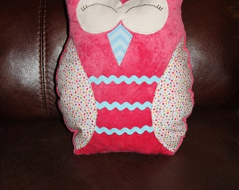 Owl pillow in minky pink polka dots