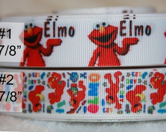 Sesame Street  - Elmo inspired Grosgrain Ribbon-your choice R205
