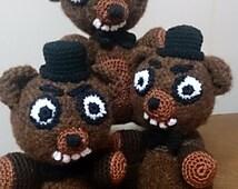 Freddy Fazbear Crocheted FNAF Stuffed Toy, Amigurumi Bear