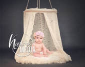 Baby Toddler Child White Lace Canopy Fur Bed Studio Digital Backdrop - Photography Background with Fur PNG Coverup