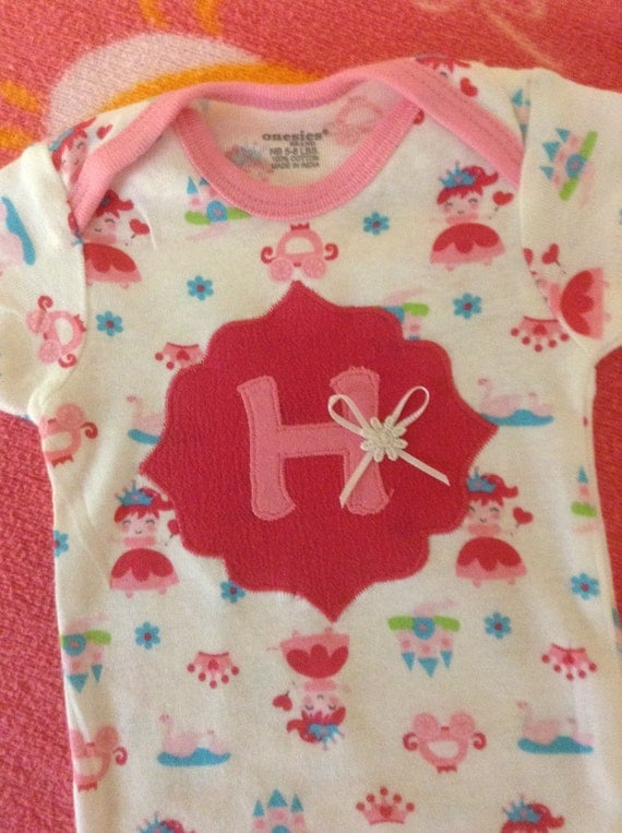 Baby girl initial appliqué princess onesie bodysuit