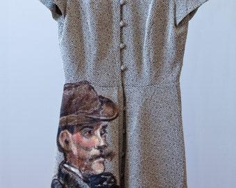 Upcycled, Vintage, Short-Sleeved Dress Featuring Èdouard Manet's Portrait of Alphonse Maureau