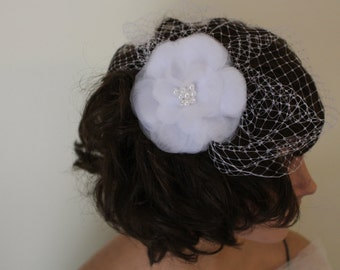 White Blusher Birdcage Veil with Fabric Flower and Pearls