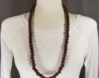 Wood bead beaded long necklace chunky wooden big beads