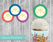 DIY Printable Instant Download It's a Small World Cupcake Toppers Kids Birthday Toppers for Cupcakes