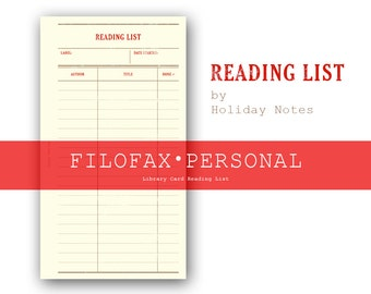 Library Card Reading List ・Personal Size ・Filofax Insert