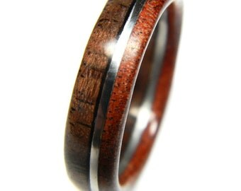Ready to Ship - Size 11 - Unique Walnut and Sandalwood  Wood Engagement Ring, Jewelry, Ring, Wood Jewelry, Wedding, Wedding Band, Engagement