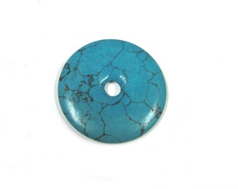 Doughnut Howlite Turquoise Bead (2pc)