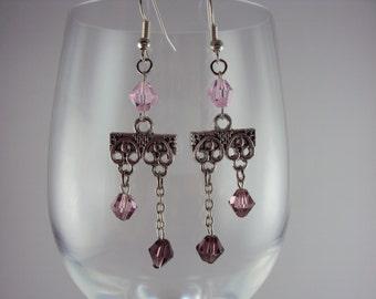 Shades of Pink Crystal Chandelier Earings