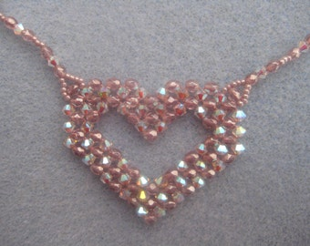 Open Hearts Beaded Necklace Tutorial - Right Angle Weave Swarovski Pink and Crystal Pattern
