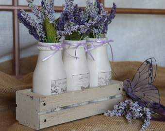 Parisian Butterfly Milk Bottles and Crate