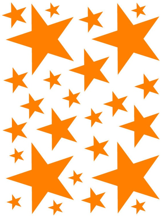52 Bright Orange Vinyl Star Shaped Bedroom Wall Decals Stickers Teen Kids Baby Nursery Dorm Room Removable Custom Made Easy to Install