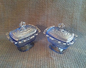 2 Vintage Indiana Blue Glass Candy Dish