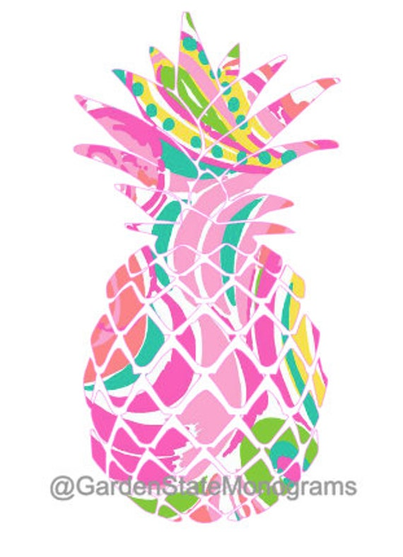 pineapple lilly pulitzer inspired multi by gardenstatemonograms. Black Bedroom Furniture Sets. Home Design Ideas