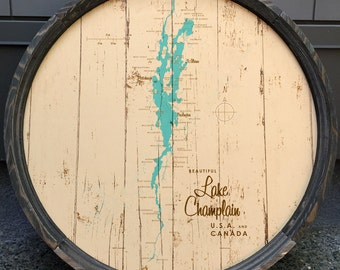Lake Champlain Map Barrel End
