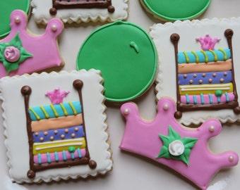 Princess and the pea sugar cookies