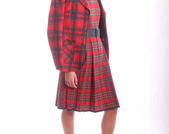 FREE US SHIPPING Vintage Wool Pleated School Girl Plaid Dress
