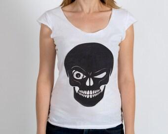 SKULL shirt women's shirt skull jersey woman tee woman shirt American Apparel sheer jersey a 2-sided top reversible top - Printed by the SUN