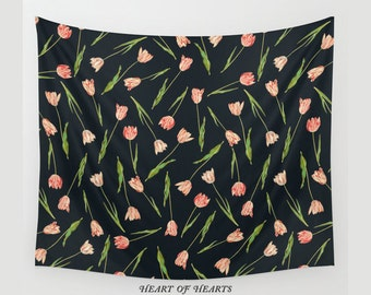 Tulips Tapestry, Flower Wall Tapestry, Wall Hanging, Floral Tapestry, Nature Wall Art, Tulips Wall Decor, Home Decor, 51x60, 68x80, 88x104