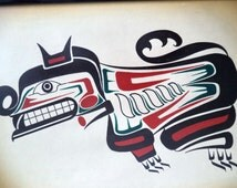 SIGNED original Haida Litho Print Bear 1986 Denis Themens color  Canadian BC Totem Pacific Coast Indian Painting Native Art first Nations