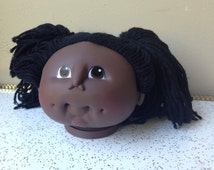 80s Cabbage Patch kid doll head vintage eighties african american black girl baby martha nelson thomas