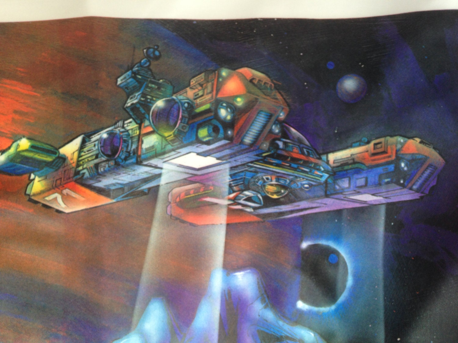 80s vintage space scene fabric cloth galaxy outer space for Space station fabric