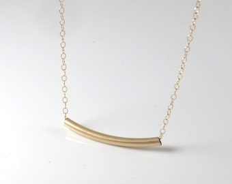 Gold tube necklace , gold filled tube necklace , gold bar necklace , braids made gift