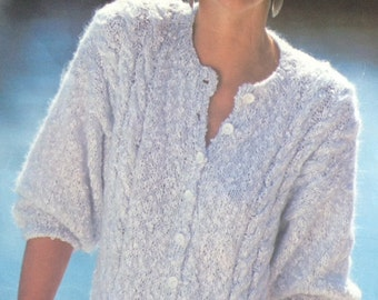 Knitting Pattern Ladies/Woman's Mohair Cable Cardigan with Pockets size 34-40in