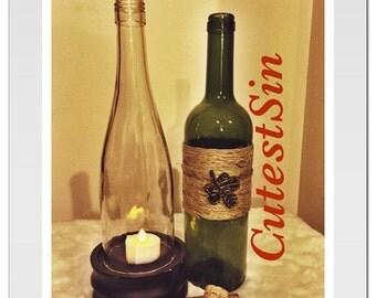 Repurposed wine bottle hurricane lamp